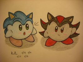Sonic-Kerby and Shadow-Kirby by TheGreenDragonGirl
