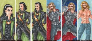Loki and Thor Bookmarks by Hatter2theHare