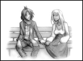 V-day - Sharing a Bench by Inonibird