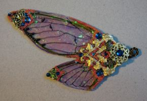 Pink and Blue Wings Pendant by elvenelysium