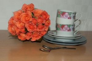 Cups and roses by steppelandstock