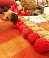 WIP Lil Dachshund Wiener Dog Christmas Ornament by Spudsstitches