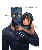Black Panther and Mowgli by Maby-chan