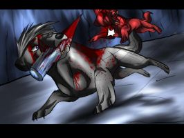 Santos and Snarl fighting by Sugarseme