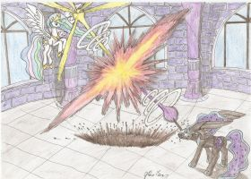 Celestia vs Nightmare Moon by Stardustchild01
