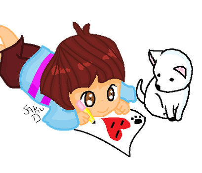 Frisk And Annoying Dog- Its Drawing Time!! by SakuraDrawer