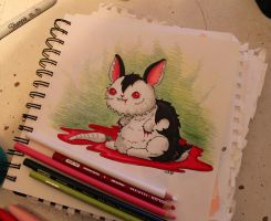 Drawlloween: Bunnicula by loveandasandwich