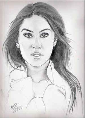 trying to make megan fox portraits by ALOKDUBEY
