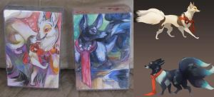 Kitsune mini paintings + digital adopt by skulldog