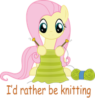 fluttershy knitting by Swivel-Zimber