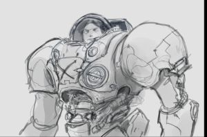 Starcraft Marine FanArt Sketch by XiaMan