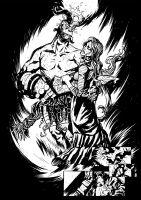 Hellboy and Alice BW by OXOTHUK