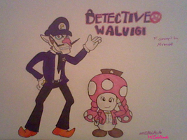 GIFT: Detective Waluigi And Toadette by MCGoldYoshi