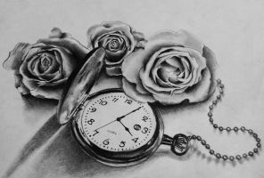 Pocket watch and roses by dazzbishop