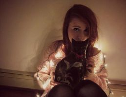 cats and christmas lights by rachelrosewater