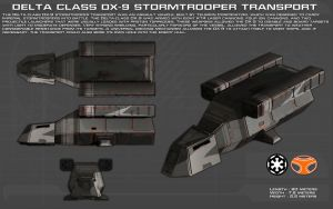 Delta Class DX9 Stormtrooper transport ortho [New] by unusualsuspex