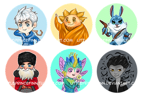Rise of the Guardians Button Set by littleprincefinn