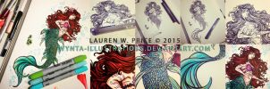InkLilMermaid WIP 2015 by Wynta-Illustrations