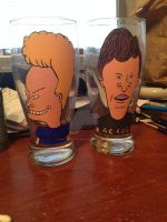 Beavis and Butt-head beer glasses by SurrealNightmares666