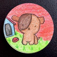 Hand Drawn Buttons - Puppy by gippentarp