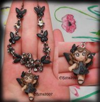 Necklace with the fairy  Queen of butterflies by Elfetta2007