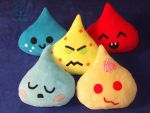 Liquid drops plushie series (on Etsy) by VilDeviant