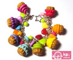rainbow cupcakes bracelet by KPcharms