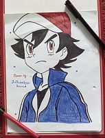 Hyped Ash~Rough Drawing by TheKalosQueenSerena