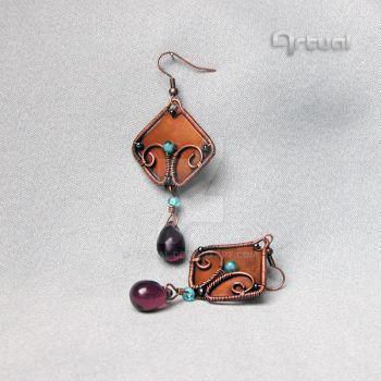 Square wire wrapped copper earrings by artual
