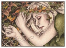 Sleepy Autumn ACEO by Zindy