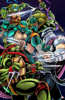 Teenage Mutant Ninja Turtles - Turtles vs Shredder by WiL-Woods