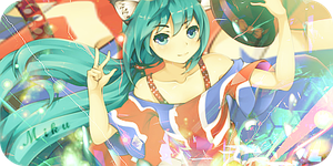 Miku Hatsune Signature Banner by Turbo-Chan