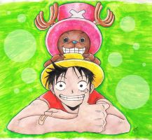 Luffy and Chopper by Yasithecat