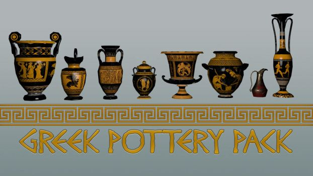 Greek Pottery 3D Model Game Pack by Natnie