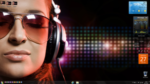 Girl listening to music desktop by LazyLaza