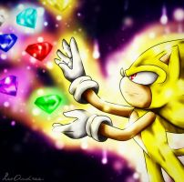 Super Sonic and the 7 Chaos Emeralds by LoborianProductions