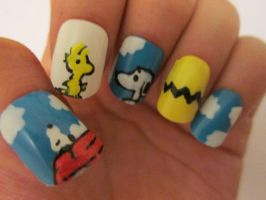 Snoopy nails :) by henzy89