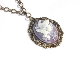 Lilac and White Victorian Butterfly Cameo Necklace by Sahalean