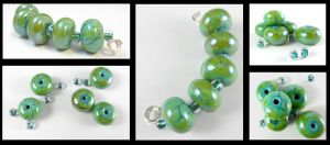 Green Dragon Lampwork Beads Set SRA by DryGulchJewelry