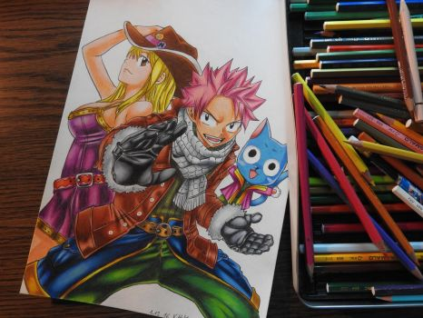 Natsu X Lucy Color Drawing-- Fairy Tail by tak17hiro