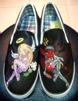Angel VS Demon , custom shoes by Annatarhouse