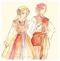 Fairy Tail: folk costumes by Rocktuete