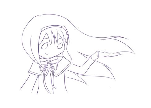 Happy Homura lineart by jehssica13wonderland