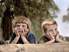 Colorized Dust Bowl Kids by Cspringer