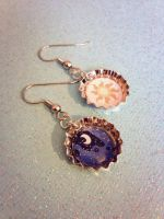 Luna and Celestia Mixed Earrings - My Little Pony by Monostache