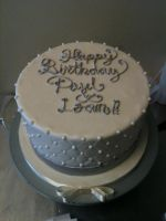 Quilted White and Silver Cake by Spudnuts