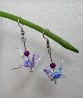 Tiny Origami Crane Earrings by sakuralu83