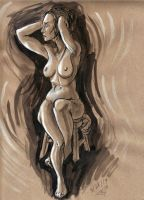 Friday Figure Study on Tan Paper by rawjawbone