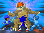 Blue Warriors vs Giga Bowser ~Commission~ by Xero-J