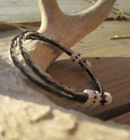 Adjustable Horsehair Bracelet - Jet by TarpanBeadworks